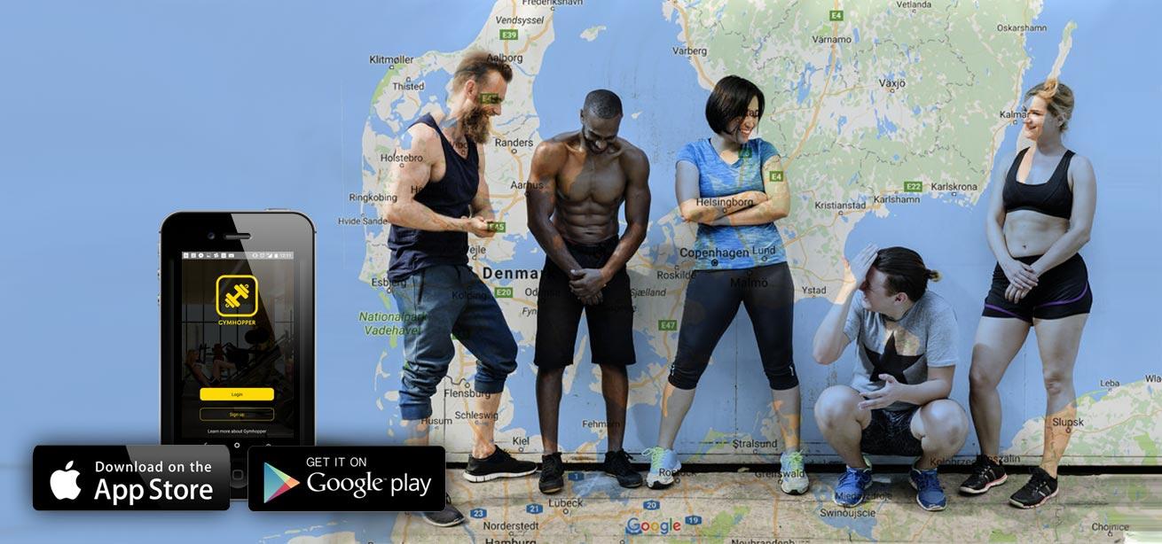 Træne i over 250 centre rundt om i Danmark og Europa med Gymhopper medlemskab